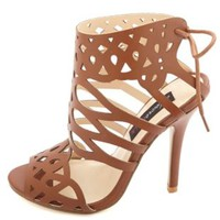 HeartSoul Laser Cut-Out Tie-Back High Heels - Cognac