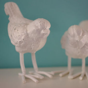Cast Iron Set of Two Sparrow Birds - PICK YOUR COLOR