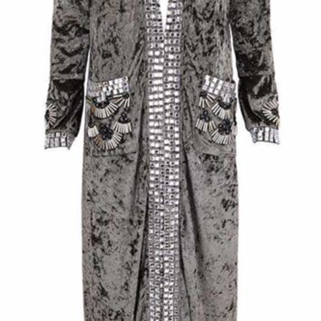 'Honore' Jeweled Velvet Coat - Khaki