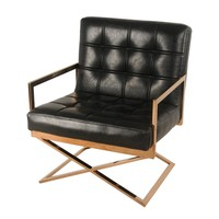 Saticoy Accent Chair BLACK/ROSE GOLD