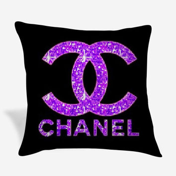 Purple Chanel Logo Pillow Case