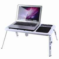 Portable Adjustable Folding Laptop Table Foldable Laptop Stand Desk Computer Table USB Cool Fans for Sofa Bed Floor