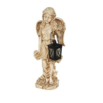 """21"""" Graceful Weathered Ivory Standing Angel With Tealight Candle Lantern Outdoor Garden Patio Statue"""