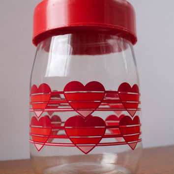 Vintage Carlton Glass Heart Jar with Lid
