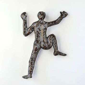 Contemporary metal wall art - Climbing man sculpture - wire mesh sculpture - wall hanging