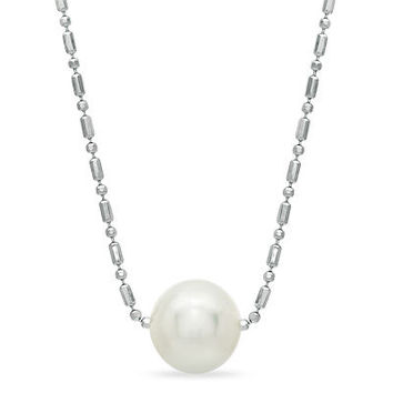 """9.5mm Cultured Freshwater Pearl Pendant in Sterling Silver - 16"""" - View All Necklaces - Zales"""