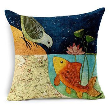 GoldMice the Love of Bird and Fish Design Cotton and Linen Pillowcases, Cushion Cover, Back Cushion Cover, Pillow Cover, Car Cushion Cover