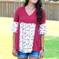 Floral Block Ruffle Blouse {Burgundy Mix}