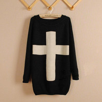 Black Cross Long Sleeve Sweater  from Showmall