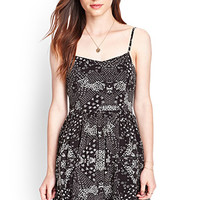 FOREVER 21 Abstract Spotted Cami Dress Black/Cream