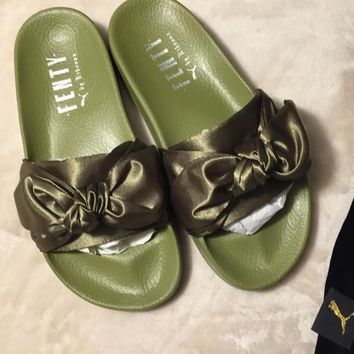 PUMA fenty rihanna silk Bow Slide Sandals Shoes sneakers spring (10-color) Army Green