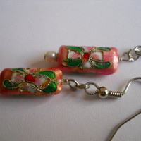 Pink and Green Cloisonne Earrings Pale Rose Pearl Beaded Jewelry