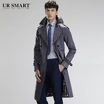 URSMART super long double collar against the wind and rain man windbreaker double-breasted tunic gray male trench coat