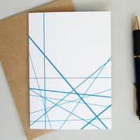 Geometric print greeting card blue lines any occasion minimalist