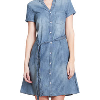 LE3NO Womens Lightweight Polka Dot Cotton Denim Shirt Dress