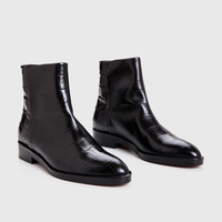 Slip-On Boot - Black Croc-Embossed Leather