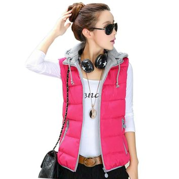 Tengo New Fashion Women Autumn and Winter Detachable Hood Vest Slim Hooded Cotton Vest Female Down Cotton Vest Waistcoat Jacket