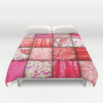 Faux Patchwork Quilting - Pink and Red Duvet Cover by Gravityx9