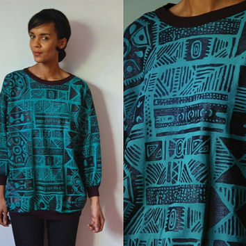 Vtg Tribal Mix Print Green Black Light Sweatshirt
