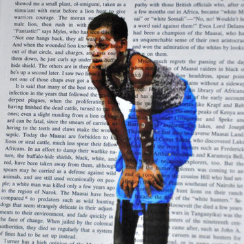 "Book Page Art-South African Gumboots Dancer! Original Photography for Framing 8"" x 10"". Cape Town, South Africa. Upcycled Book Art"