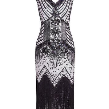 CREYXT3 Vijiv Women 1920s Gastby Sequin Art Nouveau Embellished Fringed Flapper Dress