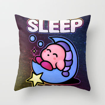 Kirby Sleep Throw Pillow by Likelikes