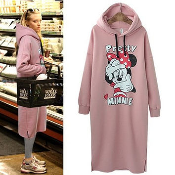 On sale christmas gift women hoodie warm minnie mickey printed fleece long pullover pink color harajuku Tracksuits sweatshirt