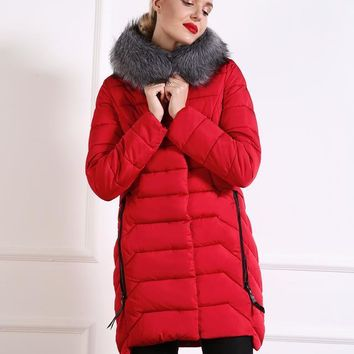 Winter Coat w/ Fur Collar Parka Hoodie