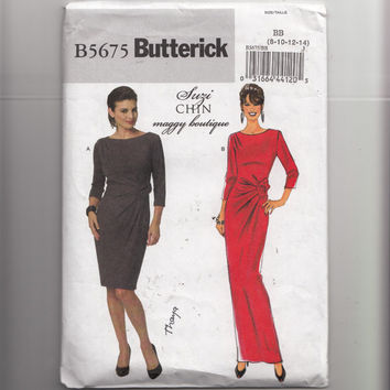 Form Fitting Easy to Sew Dress Sewing Pattern Bust 31.5 to 36 Butterick 5675 B5675 by Suzi Chin Maggy Boutique Bias Cut Drapes Waist Tucks