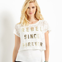 Womens Map to Mars Sheer Lace Rebel Crop T-Shirt - Beige