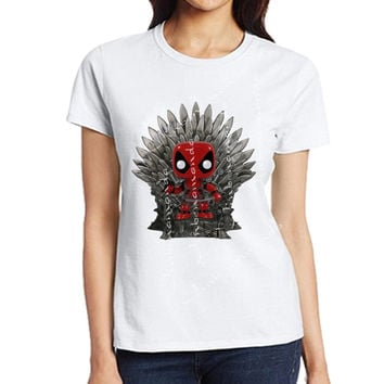2017 Brand Design Deadpool on the Iron Throne T-Shirt Male Fashion Game of thrones Tshirts Women&Men's Short Sleeve Tee Tops