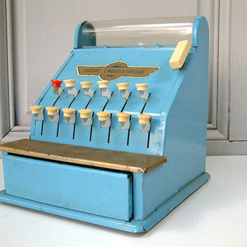 French vintage metal toy cash register.