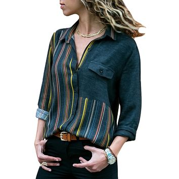 Yellow Accent Colorblock Long Sleeve One Pocket Shirt