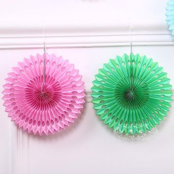 Tissue Paper -Paper Pinwheels Hanging Flower Paper Crafts Showers Wedding Party Birthday Decoration.