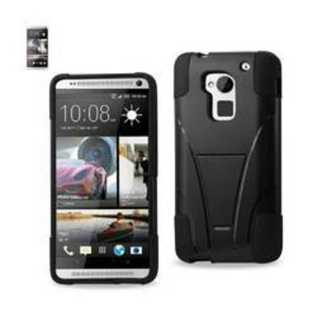 REIKO HTC ONE MAX HYBRID HEAVY DUTY CASE WITH KICKSTAND IN BLACK