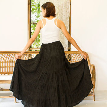 Black Gypsy Skirt - Boho skirt, Hippie Skirt, Long Skirt , Cotton Skirt , Maxi Skirt, Tiered Skirt, Bohemian Skirt, Full Skirt, Funky Skirt