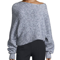 T by Alexander Wang Marled Chunky Cotton-Blend Sweater, Black/White