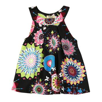 Girls Dresses Little Princess Red Dress Flower Printing Summer Girl Fashion Tops Baby Kids One Piece Casual Clothes