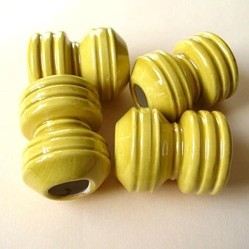 4 HUGE Yellow Macrame Beads - Huge Beads - Ceramic Bead Lot - Large Holes - Macrame Bead Lot - 70s Macrame Beads
