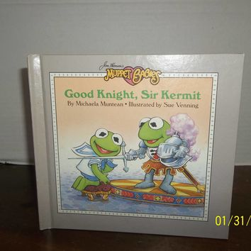 vintage 1987 jim henson muppet babies good knight, sir kermit book