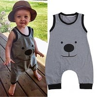 2016 New Sleeveless Newborn Infant Baby Boy Romper Cute Animals Bear Jumpsuit Outfit Clothes Summer