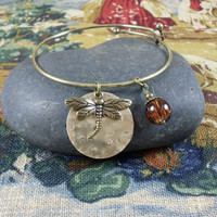 Dragonfly and Amber charm bracelet ~ Outlander inspired