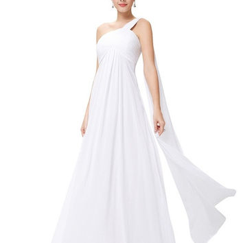 Women Simple One Shoulder White Long Chiffon Wedding Dress/Beach Wedding Dress/Summer Wedding Dress/Bridal Dress = 1956880324