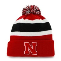 '47 Brand Nebraska Cornhuskers Red Breakaway Pom Top Cuff Knit Hat