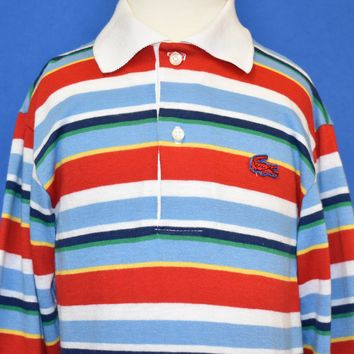 692f102a0 80s Izod Lacoste Striped Long Sleeve Polo Shirt Youth Small