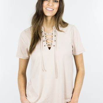 SUEDE LACE-UP TOP ROSE SMOKE