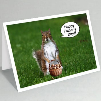 Fathers Day card Happy Father's Day - Funny squirrel card - Funny animal card - Squirrel with basket of nuts