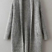 Grey Shawl Collar Long Sweater Coat