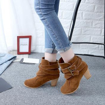 Belt Buckle Suede Chunky Heel Round Toe Ankle Boots