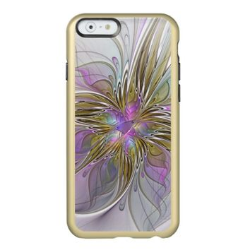 Floral Colorful Abstract Fractal With Pink & Gold Incipio Feather Shine iPhone 6 Case